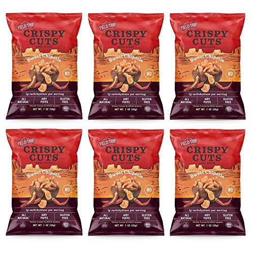 Field Trip Crispy Cuts Pork Rinds 6 Pack | Keto Snack, High Protein, Gluten Free, Low Sugar, Low Carb, | Sweet Chipotle 1oz (6 pack)