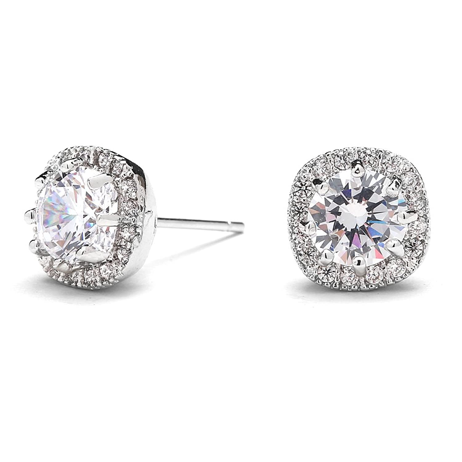 Merdia Cubic Zirconia Earring Studs S925 Sterling Silver 4 Sprong Studs f8xwU