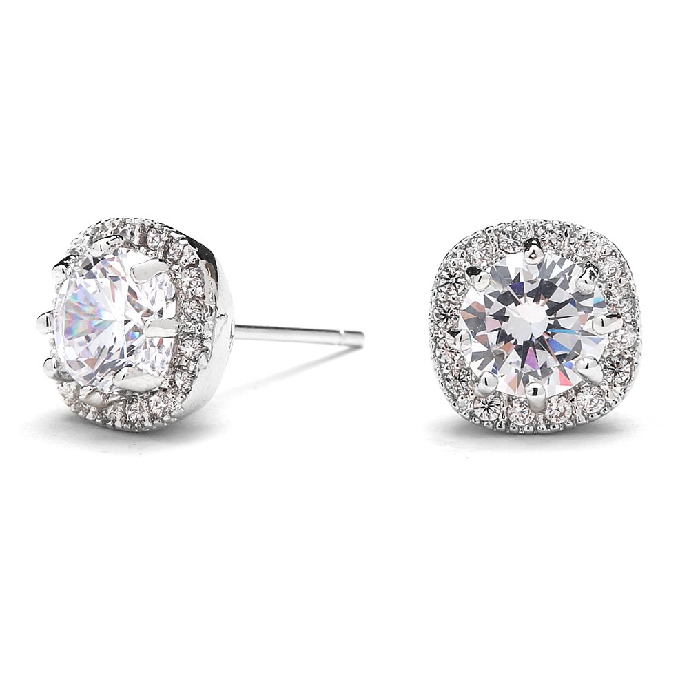 Mariell Cubic Zirconia Stud Earrings with 10mm Cushion Shaped Halos - Round-Cut CZ Solitaire Pave Studs