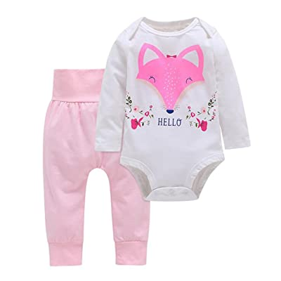 Meijunter Newborn Baby Romper Jumpsuit Long Sleeve Bodysuit Outfits Kids Clothes