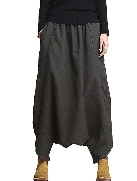 Elastische Taille Pluderhose Pantalones Color Sólido Elegante Mujer WFOPAqT