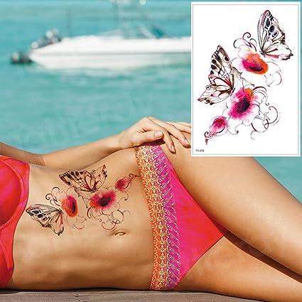 tatuaje para mujer niña tatuaje mariposa flor tatuaje ...