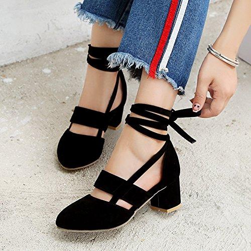 Básica para del Rebordear Zapatos Verano de Señoras Do Dedo Talones Primavera de Las América Casual de pie Sandalias Bomba del Europea Gamuza Abierta de Mujer 04q0B