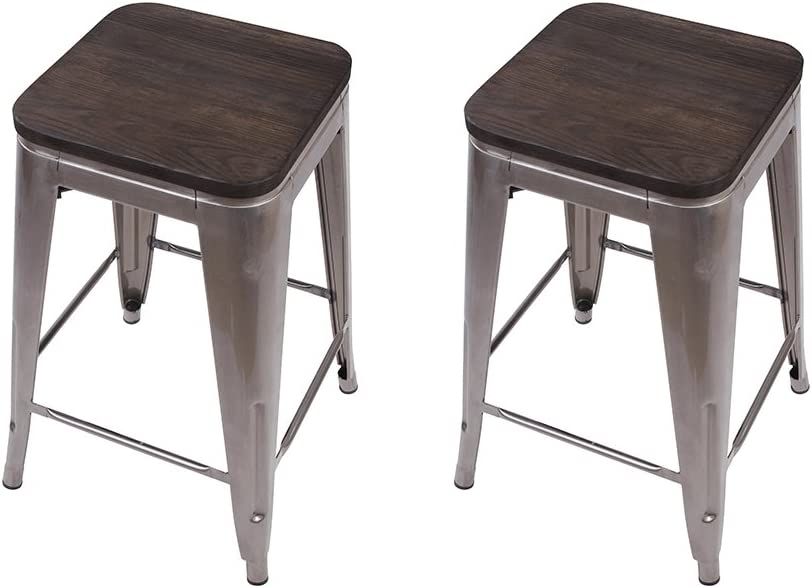 GIA 24-Inch Backless Counter Height Stool with Wooden Seat, Gunmetal Dark Wood, 1-Pack