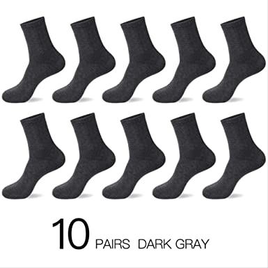 AYQX Calcetines de algodón para hombre Nuevos estilos 10 pares/lote Calcetines negros para hombres de negocios Otoño/Invierno transpirable para hombre Tamaño de la UE gris oscuro: Amazon.es: Ropa y accesorios
