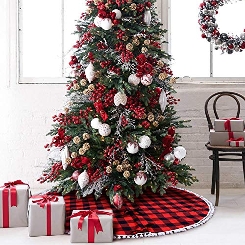 Christmas Red Black White Checked 48 inch Polyester Decorative Tree Skirt USA