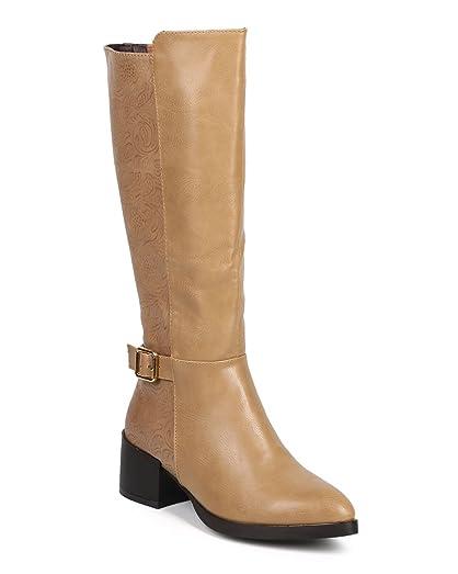 DA96 Women Paisley Almond Toe Knee High Zip Riding Boot - Taupe