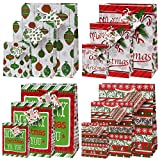 Arts & Crafts : 12 Merry Christmas Gift Bags For Women And For Kids Bulk 4 Large 4 Medium 4 Small with Tags and Handles Assorted Designs for Holiday Wrapping Goodie Bags Party Favors