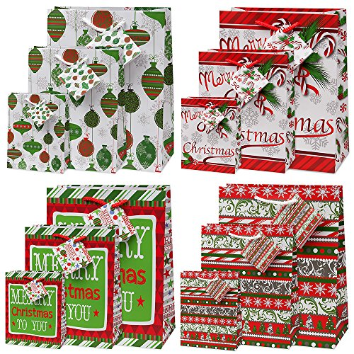 12 Merry Christmas Gift Bags For Women And For Kids Bulk 4 Large 4 Medium 4 Small with Tags and Handles Assorted Designs for Holiday Wrapping Goodie Bags Party Favors