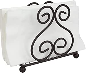 Home Basics Scroll Collection Steel Napkin Holder Freestanding Tissue Dispenser Organizer for Kitchen Countertop, Durable, Sturdy, Home Décor, Bronze