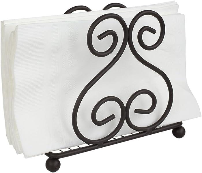 Home Basics Scroll Collection Steel Napkin Holder Freestanding Tissue Dispenser Organizer for Kitchen Countertop, Durable, Sturdy, Home Décor, Bronze