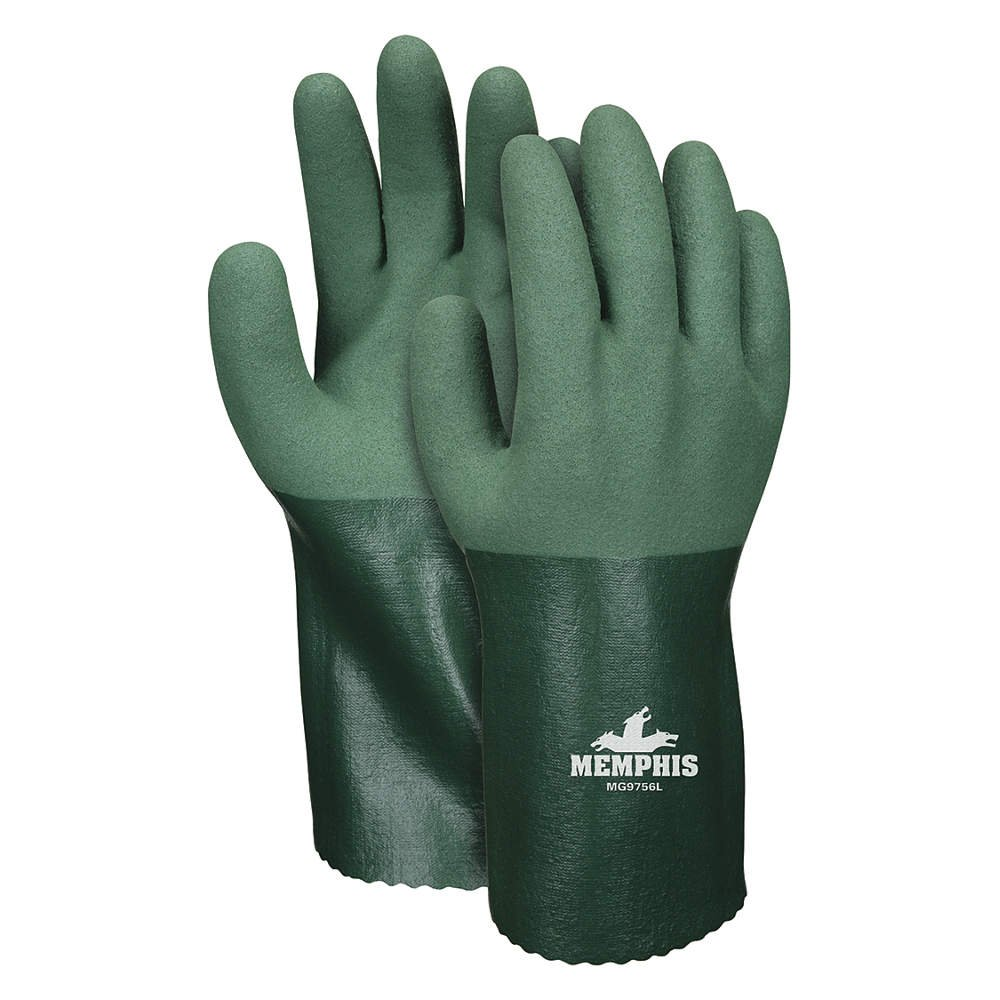 MCR Safety - MG9756L - Nitrile Chemical Resistant Gloves, Standard Weight Thickness, Cotton/Polyester Lining, Size L, Green