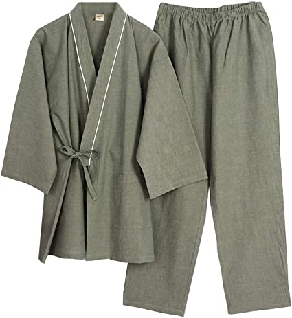 # 03 Trajes de Estilo japon/és de los Hombres de algod/ón Puro Kimono Pijama Traje Vestido de Vestir Set