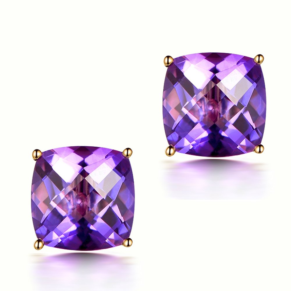 5.58ct Natural Amethyst Gemstone Women's Solid 14K Yellow Gold Natural Diamond Wedding Engagement Stud Earrings Sets for Women by Kardy