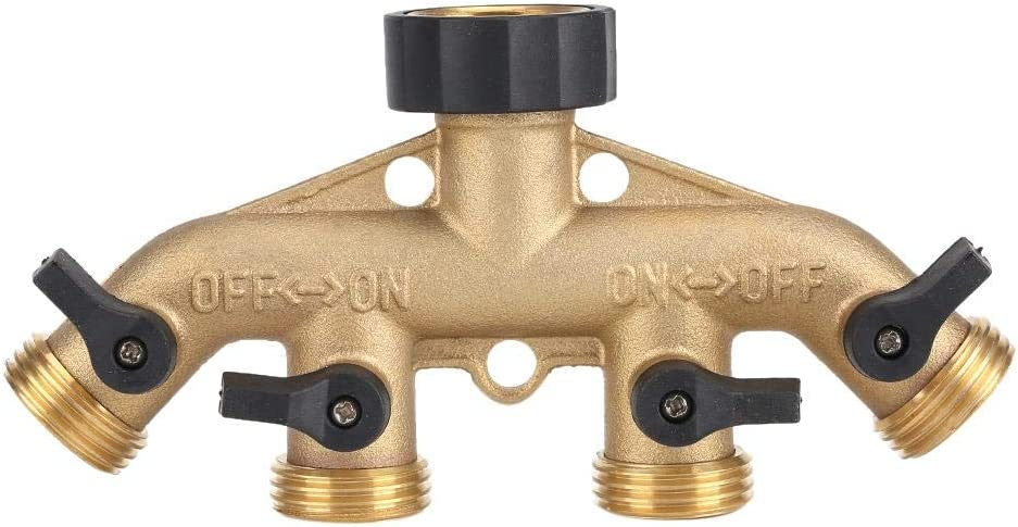 3/4 Inch 4 Way Hose Splitter,Brass 4 Shut-off Valves 4 Way Hose Pipe Splitter Nozzle Switcher Tap Connectors for Garden Irrigation