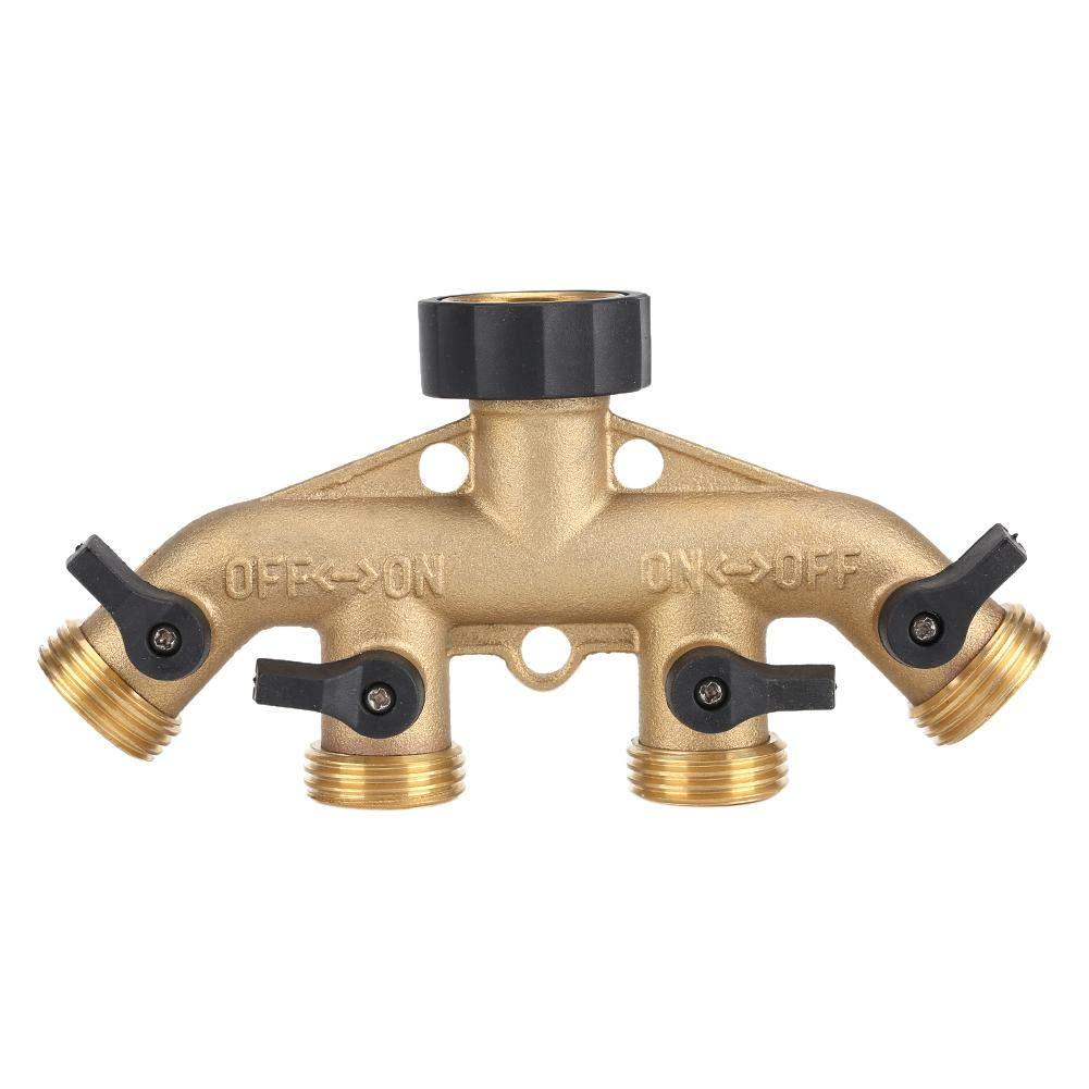ROBTLE Garden Hose Connector Tap Splitter, Garden Irrigation Outlet Splitter Heavy Duty 4 Way Brass Water Hose Splitte rwith 4 Shut-Off Valves 3/4(American Thread 3/4) by ROBTLE