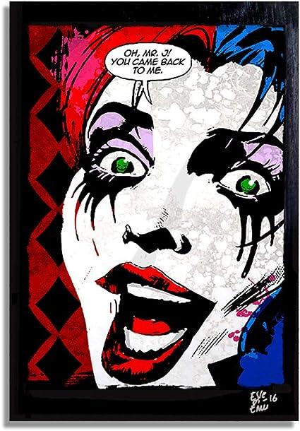 Harley Quinn Porträt Limitierte Auflage Selten Giclee Aufdruck