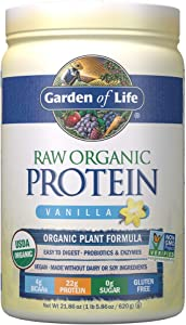 Garden of Life Raw Organic Protein Vanilla Powder, 20 Servings: Certified Vegan, Gluten Free, Organic, Non-GMO, Plant Based Sugar Free Protein Shake With Probiotics & Enzymes, 4g BCAAs, 22g Protein