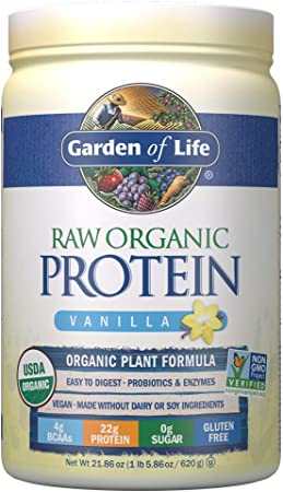Garden of Life Raw Organic Protein Vanilla Powder, 20 Servings: Certified Vegan, Gluten Free, Organic, Non-GMO, Plant Based Sugar Free Protein Shake with Probiotics & Enzymes, 4g BCAAs, 22g Protein