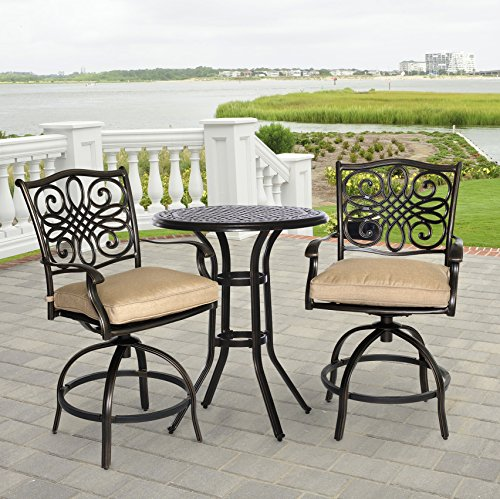 Hanover Traditions 3-Piece Bistro Set Outdoor Furniture Natural Oat TRADDN3PCSW-BR