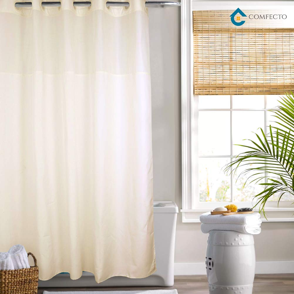Hookless Shower Curtain by COMFECTO, [NO SNAP IN LINER] 70x74 Inch Anti Bacterial Mold Mildew Resistant Hotel Bathroom Curtains with Light-Filtering Mesh Screen and Magnets, Machine Washable, Cream