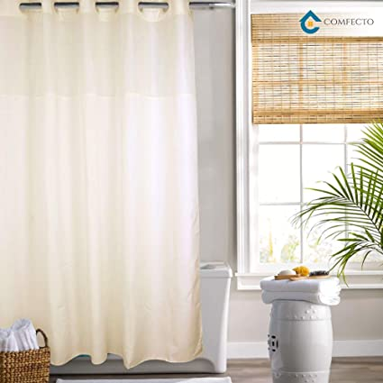 Hookless Shower Curtain By COMFECTO NO SNAP IN LINER 70x74 Inch Anti Bacterial