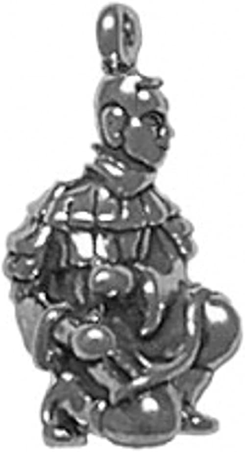 Sterling Silver Girls .8mm Box Chain 3D Kneeling Chinese Xian Guard Pendant Necklace