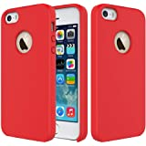 CRUSTt Liquid Silicone Soft Touch Gel Rubber Hard Back Cover Case with Microfiber Cloth Lining Cushion for Apple iPhone SE/5S/5 (Candy Red)