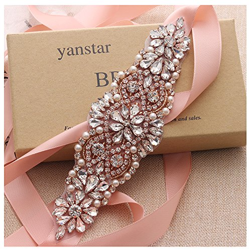 Yanstar Handmade Crsytal Beads Bridal Belts Blush Bridesmaid dress Belt Sash