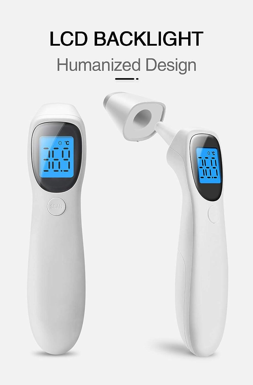 VOCD Thermometer Gegen Fieber Digitales Infrarot-Stirn Und Ohrthermometer F/ür Kleinkinder Und Erwachsene Genaue Sofortige Ablesung