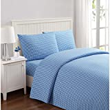 Truly Soft Everyday Printed Gingham Sheet Set, Queen, Blue