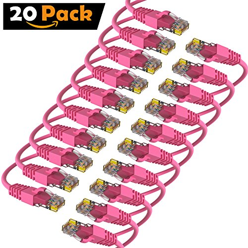25' Pink Cat5e Patch - Maximm Cat6 Snagless Ethernet Cable - 2 Feet - Pink - [20 Pack] - Pure Copper - UL Listed - Cable Ties Included