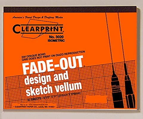 Clearprint 3020 Bond Pad with Printed Fade-Out 30-Degree Isometric Grid, 20 lb., 8-1/2 x 11 Inches, 30 Sheets, White, 1 Each - Graph Pad