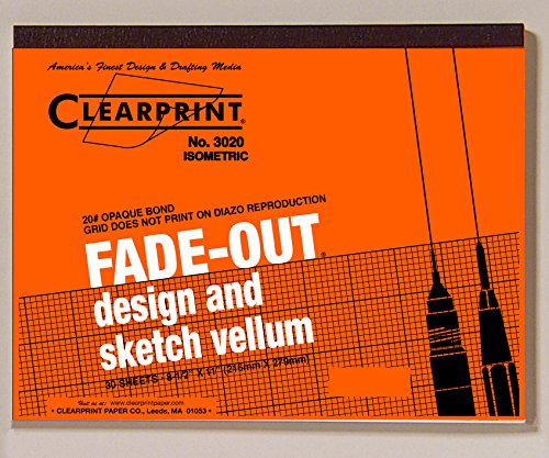 Clearprint 3020 Bond Pad with Printed Fade-Out 30-Degree Isometric Grid, 20 lb., 8-1/2 x 11 Inches, 30 Sheets, White, 1 Each (932811ISO) - Isometric Drafting Paper