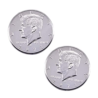 Enjoyer Double Sided Coin 2-Headed Half Dollar Coin Magic Tricks Coin Magic Gimmick Illusion Props Stage Accessories (Two Silver Head, Real Coin): Toys & Games