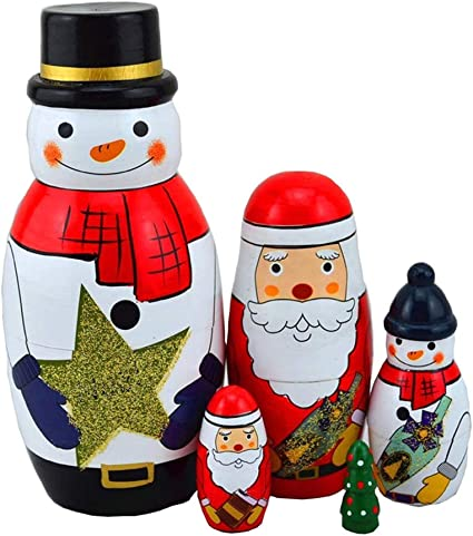5 Cutie Nesting Dolls Adorable Russian Stacking Doll Collection Toy Snowman Xmas