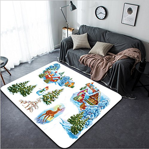 Vanfan Design Home Decorative 285728678 Set cartoon winter landscape the house and trees for fairy tale Snow Queen written by Hans Christian Andersen Modern Non-Slip Doormats Carpet for Living Dining by vanfan