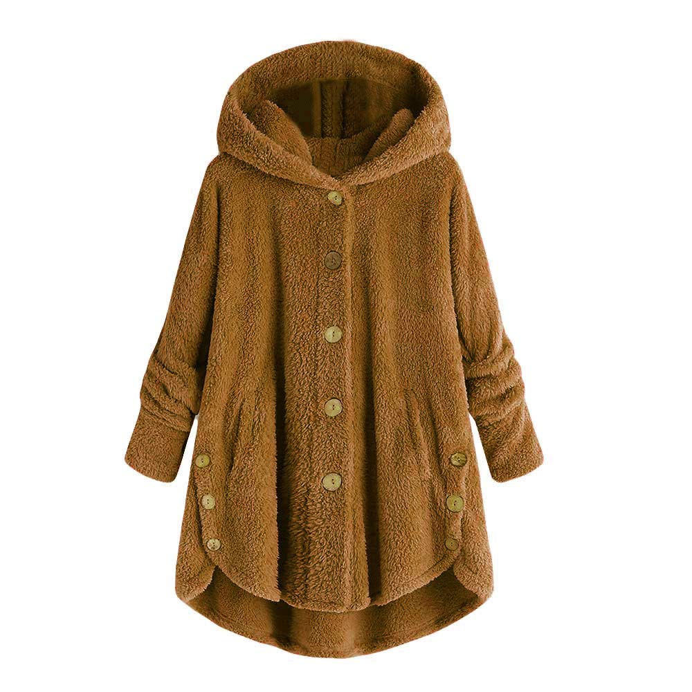 Womens Hooded Faux Fur Coats for Women Long Teddy Bear Jacket Button Fluffy Pullover Loose Sweater Outwear for Teen Girl Yellow by Womens Hoodies F_Gotal