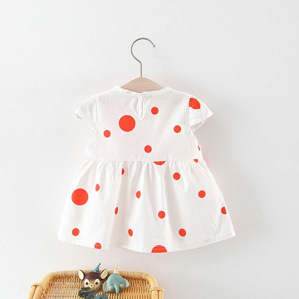 Summer Girls Dress Little Sister Short-Sleeved Dresses Fartido Polka Dot Flower Skirt Princess Dress