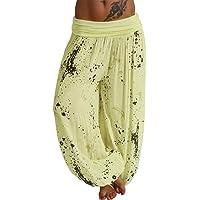 Onsoyours Mujer Pantalones Hippies Tailandeses Estampado Verano Cintura Alta Elastica para Baggy Yoga Casual Bombacho…
