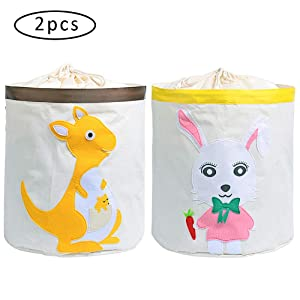 SITAKE 2 Pcs Toy Storage Bins Boxes Organizer, Cube Hamper Box for Kids Toys Animal Baby Nursery, Canvas Fabric Storage Basket, Waterproof Coating Folding Laundry Hamper Bucket (Kangaroo/Rabbit)
