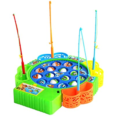 FanTao Fishing Game Electric Toy Set Single Layer 360° Rotating Board Colorful Mini Fishing Toy Safe and Durable Gift for Toddlers and Kids: Toys & Games