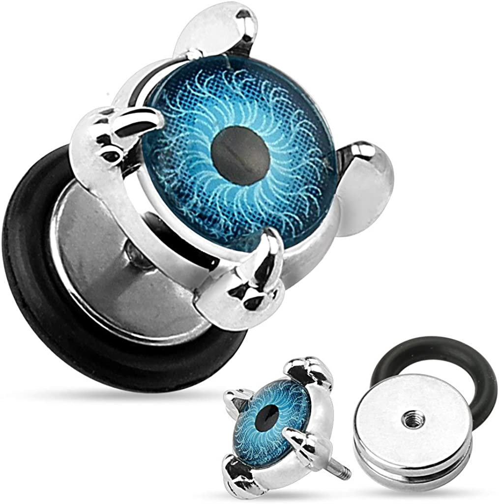 Body Accentz Earrings Rings Eyeball Set Front 316L Surgical Steel Fake Plugs 16g Pair
