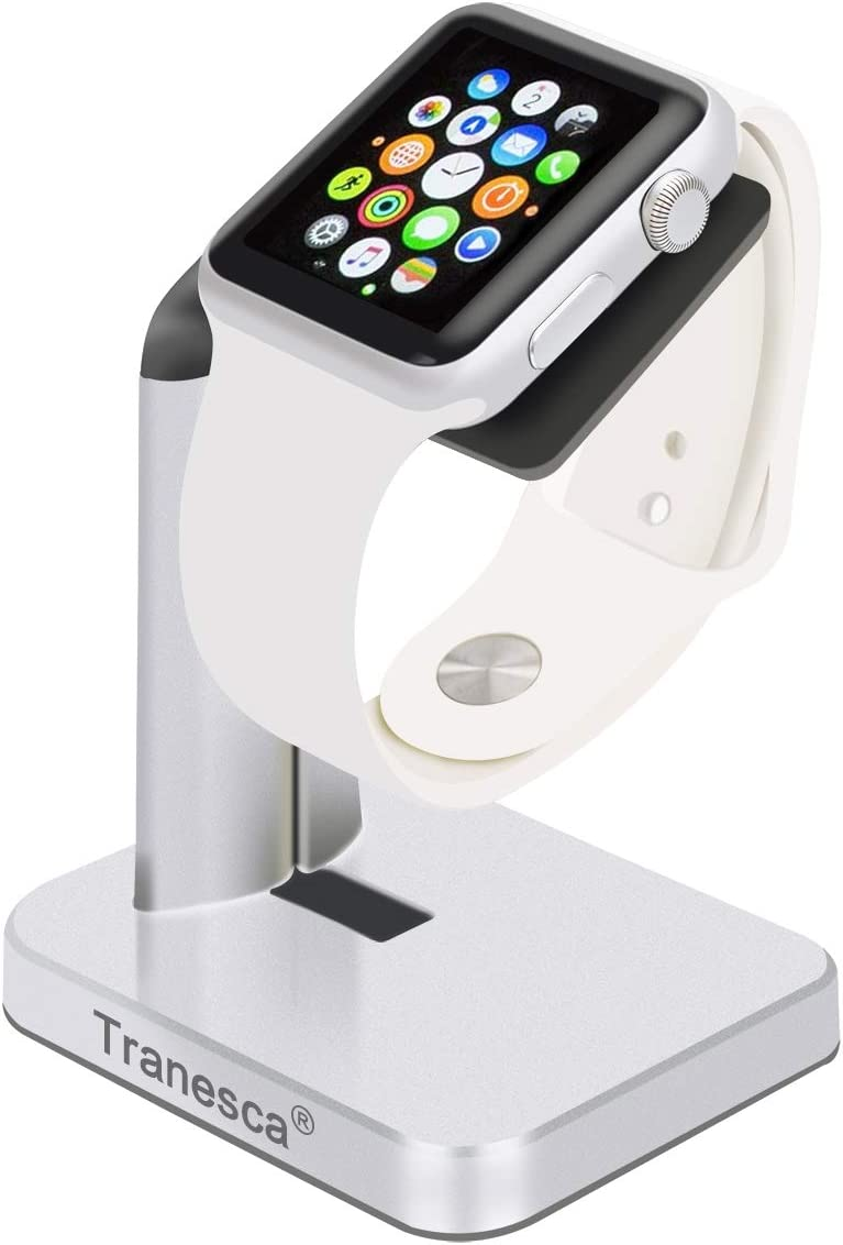 Tranesca Charging Stand Compatible with Apple Watch 4/Apple Watch 3/Apple Watch 2/Apple Watch 1(38mm/40mm/42mm/44mm) Silver - (Must Have Apple Watch Accessories)