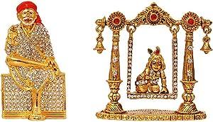 Indian Decor & Attire Combo 2 Statue God Sai Baba & Krishna Idol Puja Mandir/Home Temple & Car Dash Board Showpiece Statue Gift Item