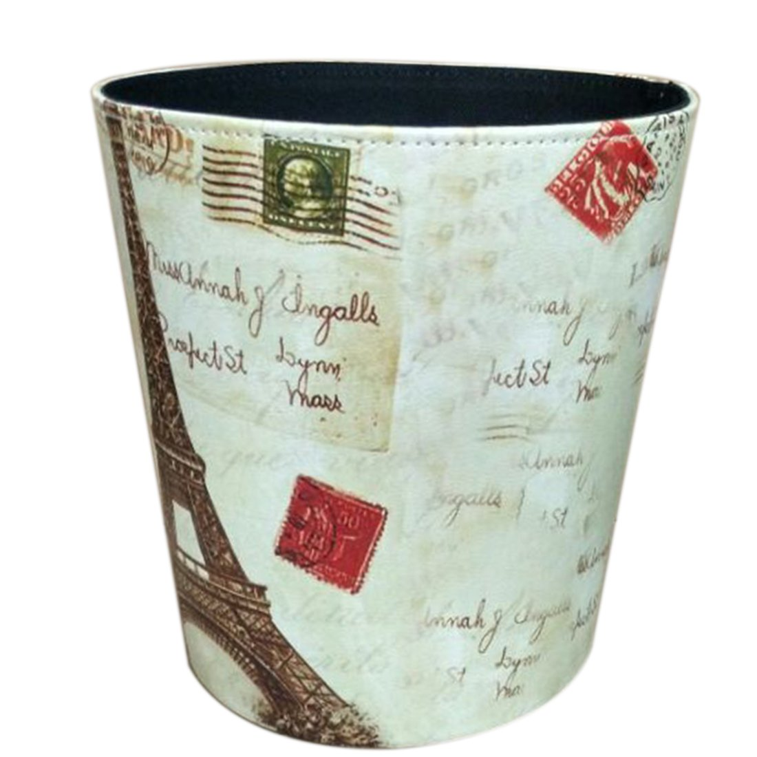 Wastebasket Trash Can for Bedroom Bathroom Kitchen Office Recycling Garbage Bin - Retro Tower Pattern