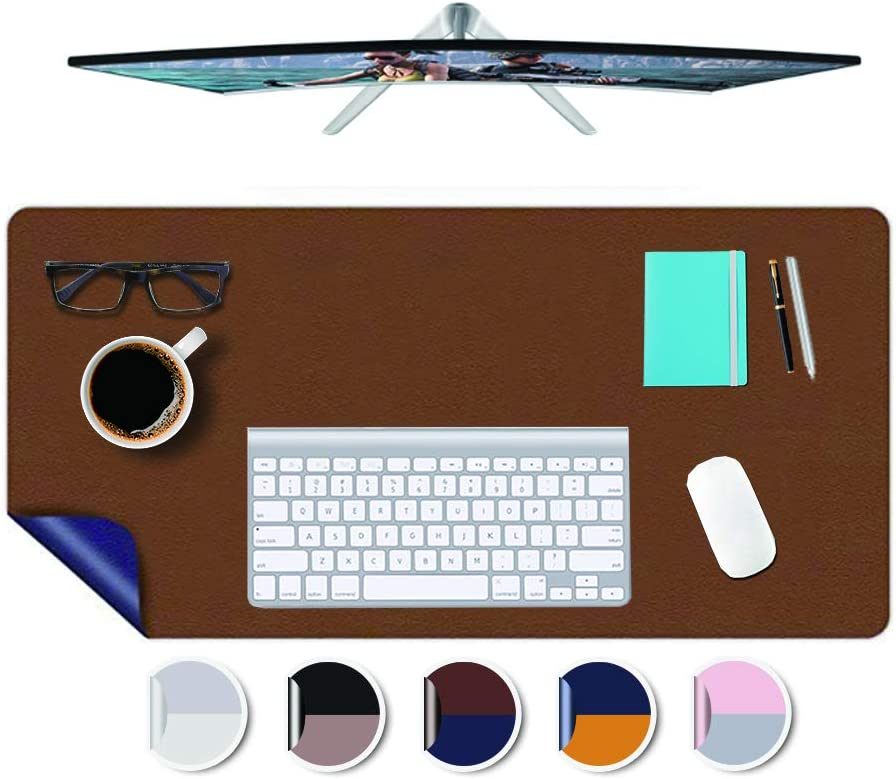 Office Desk Pad Blotter Protector 16x32 Inch PU Leather Work Desk Mats on Top of Desks Laptop Computer Gaming Under Keyboard Mouse Pad Waterproof Desktop Cover Writing Mat Dual-Sided Brown+Dark Blue