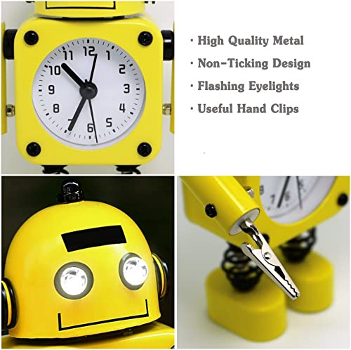 Betus Non-Ticking Robot Alarm Clock Stainless Metal – Wake-up Clock with Flashing Eye Lights and Hand Clip Yellow