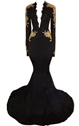 Junior Mermaid Deep V Neck Long Sleeve Prom Dress Open Back Sexy Evening Gown Black US2