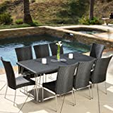 Tampa Patio Furniture ~ 9-piece Outdoor Wicker Dining Set with Stacking Outdoor Dining Chairs (Black)